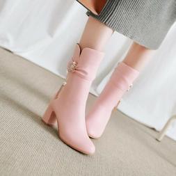 Women's Faux Leather Mid-Calf Boots Mid Block Heel pearl Zip