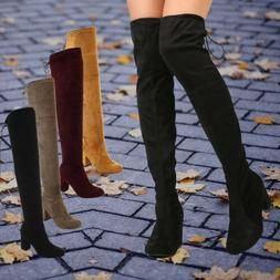 Women's Faux Suede Over The Knee Boots Stretchy Thigh High C