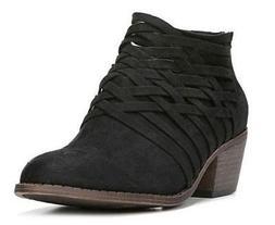 FERGIE BANDANA Women's Booties Black Zip Up Strappy Dress Sh