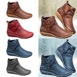 Women's Flat Leather Retro Strap Boots Round Toe Shoes Casua