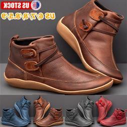 Women's Flat Leather Retro Strap Boots Round Toe Shoes Casua