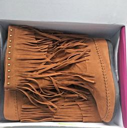 Women's Rampage Fringed Casual Boots -Cognac Brown - Size 8