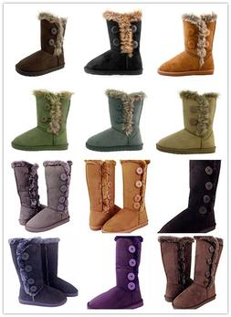 Women's Fur Mid-calf 4-Buttons Faux Soft Snow Winter Boot Fl