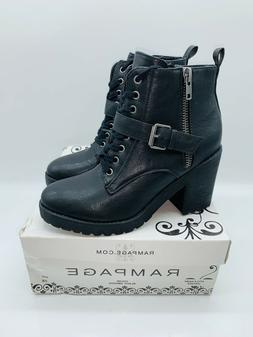 Rampage Women's Haydee Lace-Up Ankle Boots Black US 8.5M