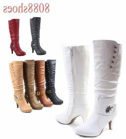 Women's High Heel Round Toe Platform Zip Knee Mid Calf High