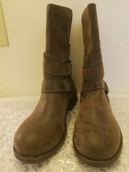WOMEN'S RAMPAGE ISLET MID CALF LOW HEEL RIDING BOOTS SIZE  n