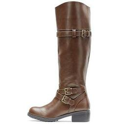 Women's RAMPAGE IZABELLA Brown Knee High Pull On Riding Dres