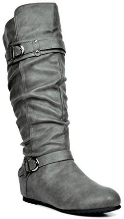 74541a9c40e DREAM PAIRS Women s JOIES Grey Knee High Low Hidden Wedge Bo