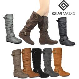 DREAM PAIRS Womens Mid Calf Knee High Low Hidden Wedge Boots