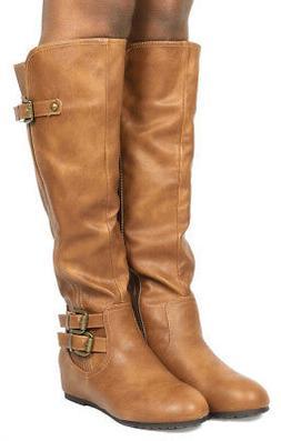 DREAM PAIRS Women FRANCA Knee High Low Hidden Wedge Boots