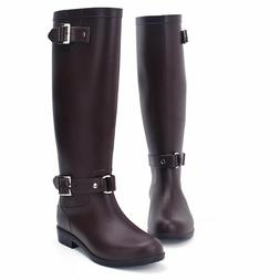 Women's Knee High Rain Boots Ladies Mid-Calf Rubber Shoes St
