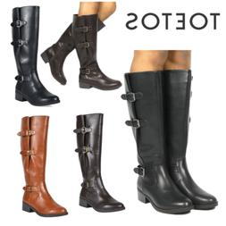 TOETOS New Women Ladies PU Leather Combat Casual Pull-On Kne