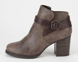 Soda Kylie Women's Ankle Boots Taupe High Heels Fashion Dres