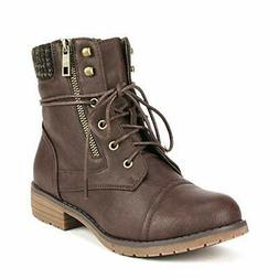 DREAM PAIRS Women's Lace Up Ankle Bootie, Brown/Peakk, Size