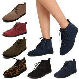 Women's Lace Up Flat Booties Slip on Ankle Boots Soft Casual