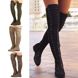 Women's Ladies Over The Knee High Boots Lace Up Party Flat Z