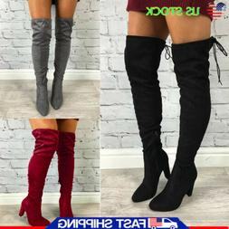 Women's Ladies Thigh High Boots Over The Knee Party Stretch