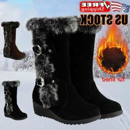 women s ladies wedge heel snow boots