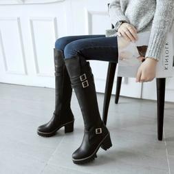 Women's lady Chunky Heel Platform Punk Knee High Boots Comba