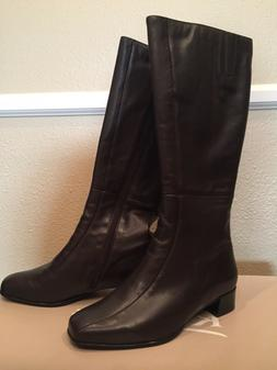 Kumfs Women's Leather Boots, Brown, Size 38.5 XW, New In Box