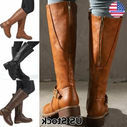 Women's Leather Zip Up Mid Calf High Flat Block Low Heel Rid