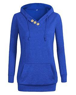 Othyroce Women's Long Sleeve Button V-Neck Pockets Sweatshir