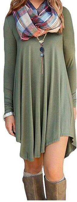 DEARCASE Women's Long Sleeve Casual Loose T-Shirt, V Neck-Ol