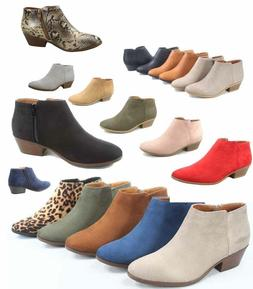 Women's Low Chunky Heel Zipper Almond Toe Ankle Booties Shoe