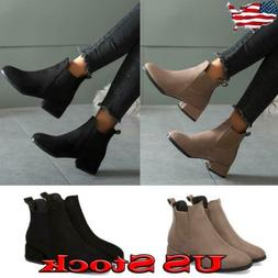 Women's Low Heel Short Ankle Boots Ladies Casual Mid Block H