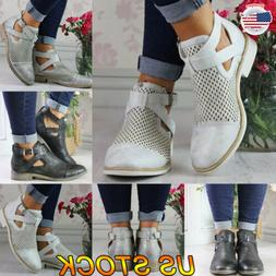 Women's Low Mid Block Heel Ankle Boots Hollow Chunky Casual