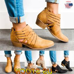 Women's Low Mid Block Heel Ankle Boots Zipper Chunky Casual