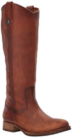 FRYE Women's Melissa Button Lug Tall Boot, Cognac, 7.5 M US