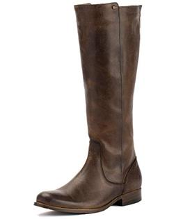 FRYE Women's Melissa Stud Back Zip Riding Boot, Chocolate, 9