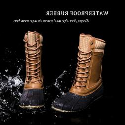 Women's Mid Calf Lace Up Rain Snow Boots Waterproof Rubber S