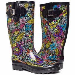 SheSole Women's Waterproof Rain Boots Mid Calf Rubber Garden