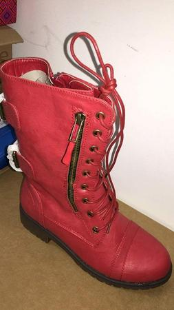 DailyShoes Women's Military Combat Lace up Mid Calf High Cre