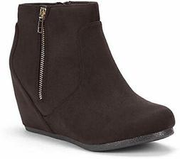 DREAM PAIRS Women's Narie-New Brown Suede Low Wedges Ankle B