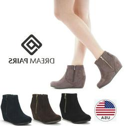 DREAM PAIRS Women Wedge Heel Side Zipper Ankle Boots Suede F