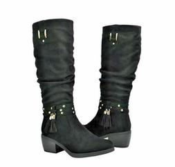 Global WIN Women's Natalia Fashion Boots Black Faux Suede Si