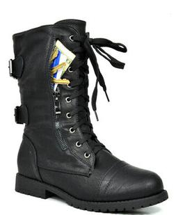 DREAM PAIRS Women's New Winter Mid Calf Military Lace up Com