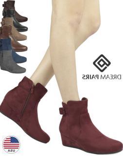 DREAM PAIRS Womens LANG Walking Street Casual Low Wedge Heel