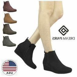 DREAM PAIRS Womens Suede Low Wedge Heel Ankle Boots Zip Up B