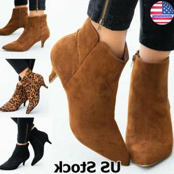 Women's Pointed Toe Kitten Low Heel Ankle Booties Winter Zip