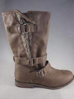 RAMPAGE RADLEY Women's Boots Taupe Brown Pull On Knit Casual
