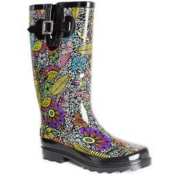 Womens Rain Boots Mid Calf Waterproof Rubber Wellies Garden
