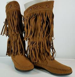 Rampage Women's Ram-Capulet Brown Mid-Calf Moccasin Boots Fr