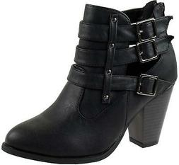 Women's Riding Ankle Boots Chunky Heel Triple Buckle Bootie