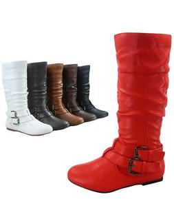 Women's Round Toe Flat Causal Mid Calf Zip Buckle Boots Shoe