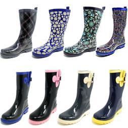 """Women's Rubber Rain Boots - Classic Mid-Calf 11"""" Two-Tone Wa"""