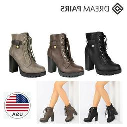 DREAM PAIRS Womens Lace Up Side Zip Ankle Boots Chunky High